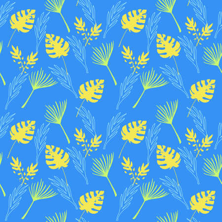 Funky Tropical Vector Seamless Pattern. Drawn Floral Background. Beautiful Male Shirt Female Dress Texture. Chic Summer Textile. Dandelion Banana Leaves Monstera Feather Tropical Seamless Pattern. 일러스트