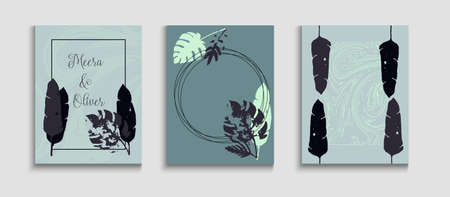 Abstract Retro Vector Banners Set. Oriental Style Invitation. Soft Monstera Leaves Magazine Design. Tie-Dye, Tropical Leaves Covers. Geometric Border Texture. Hand Drawn Elegant Background.