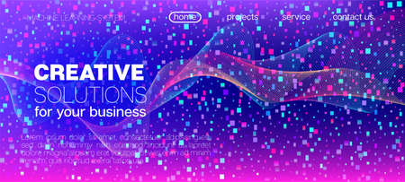 Flying Particles Distressed Purple Vector. Data Analytics Cool Banner. Pink Blue Purple Futuristic Gradient Overlay. Funky Geometric Background. Big Data Neon Wallpaper. 3D Flow Shapes Poster.