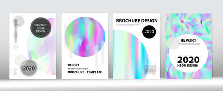 Holographic Gradient Vector Background. Hologram Minimal Light Covers Set. Iridescent Gradient Overlay Holograph Unfocused Cover.  Fluid Holo Bright Trendy Layout. Rainbow Magazine Print Template.