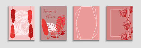 Abstract Retro Vector Cards Set. Tie-Dye, Tropical Leaves Covers. Noble Olive Leaves Invitation Layout. Hand Drawn Trendy Background. Japanese Style Invitation. Geometric Border Pattern.