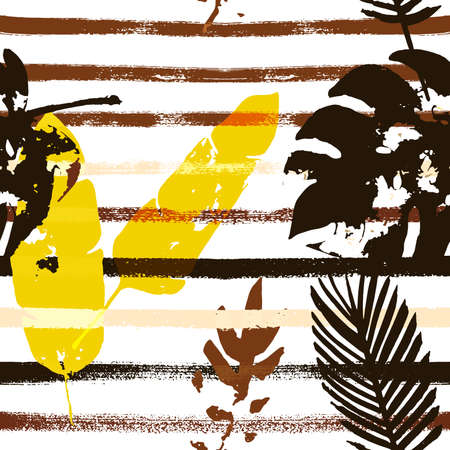Sailor Stripes Vector Seamless Pattern, Brown Yellow Earth Tone Exotic Fabric. Bohemian Jungle Leaves Summer Fabric. Male Elegant Background. Tropical Fabric Seamless Print