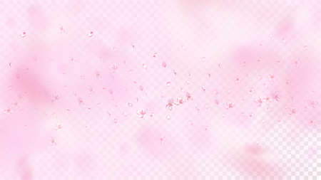 Nice Sakura Blossom Isolated Vector. Watercolor Flying 3d Petals Wedding Design. Japanese Blurred Flowers Wallpaper. Valentine, Mother's Day Realistic Nice Sakura Blossom Isolated on Rose