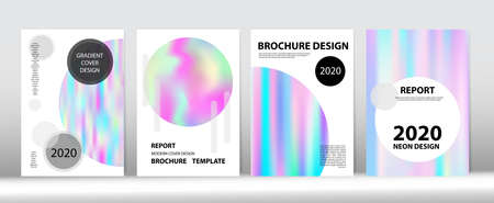 Holographic Gradient Vector Background. Liquid Holo Bright Trendy Layout. Iridescent Gradient Overlay Holograph Unfocused Cover.  Hologram Minimal Light Covers Set. Rainbow Magazine Print Template.