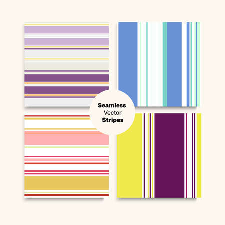 Sailor Stripes Seamless Design Set. Hipster Lines Endless Texture. Business Suit Lines Female Childrens Male Seamless Stripes Pattern. Autumn Summer Vintage Fashion Print. Retro Fashion Background