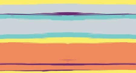 Orange, Brown Vector Watercolor Sailor Stripes Cool Seamless Summer Pattern. Vintage Retro Grunge Fabric Fashion Design Horizontal Brushstrokes. Brush Painted Ink Trace, Geometric Autumn Print