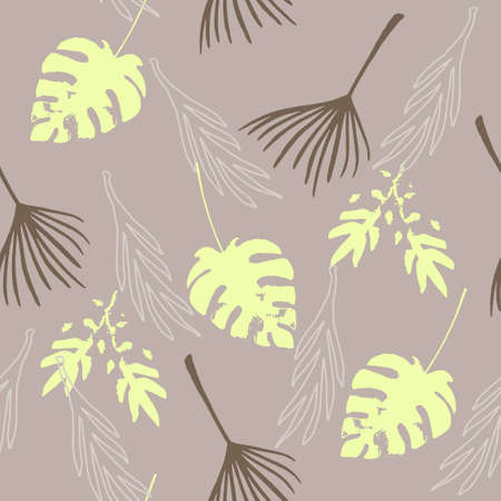 Modern Tropical Vector Seamless Pattern. Painted Floral Background. Dandelion Monstera Feather Banana Leaves Tropical Seamless Pattern. Beautiful Male Shirt Female Dress Texture. Cool Summer Fabrics.