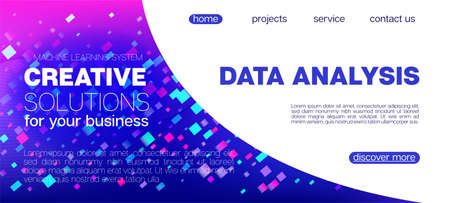 Falling Particles Distressed Purple Vector. Funky Geometric Background. Pink Blue Purple Futuristic Gradient Overlay. Big Data Neon Background. Data Analytics Cool Banner. 3D Liquid Shapes Website.