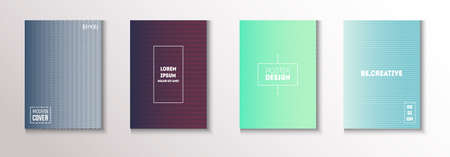 Wavy Minimal Cover Vector Set. Cool Technology Background. Light Magazine Page. Textured Gradient Overlay Business Folder. Modern Flyer Texture Design. Minimal Covers Set. 80s Neon Music Poster.