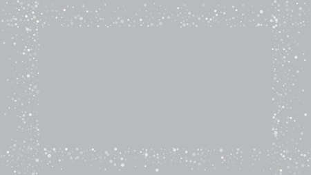 Realistic Snow, Gray Winter. Advertising Frame, New Year, Christmas Weather. Winter Holidays Storm Background. Falling Snowflakes, Night Sky. Elegant Scatter, Grunge White Glitter. Cold Realistic Snow