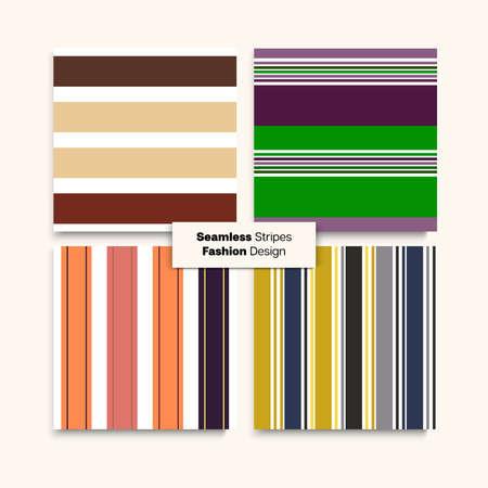 Sailor Stripes Seamless Design Set. Spring Summer Elegant Fashion Fabric. Modern Fashion Background Retro Lines Endless Texture. Business Suit Lines Childrens Female Male Seamless Stripes Pattern. Ilustração