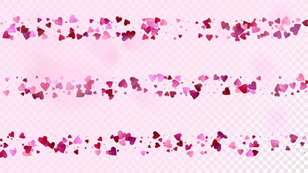 Falling Hearts Vector Confetti. Valentines Day Tender Pattern. Elegant Gift, Birthday Card, Poster Background Valentines Day Decoration with Falling Down Hearts Confetti. Beautiful Pink Design