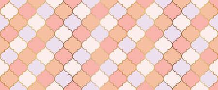 Eid Mubarak Muslim Illustration. Seamless Moroccan Mosaic Texture. Ramadan Kareem Islamic Background. Seamless Moroccan Ornament Ramadan Traditional Mosque Golden Shape. Persian Mosque Window Grid. Vectores