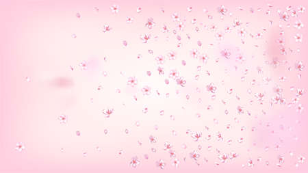 Nice Sakura Blossom Isolated Vector. Realistic Flying 3d Petals Wedding Design. Japanese Gradient Flowers Wallpaper. Valentine, Mother's Day Spring Nice Sakura Blossom Isolated on Rose
