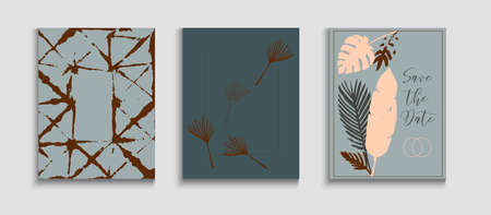 Abstract Elegant Vector Covers Set. Tie-Dye, Tropical Leaves Posters. Soft Banana Leaves Magazine Layout. Oriental Style Invitation. Hand Drawn Trendy Background. Geometric Border Texture.