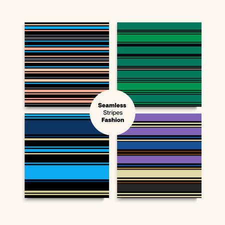 Sailor Stripes Seamless Texture Set. Winter Autumn Hipster Fashion Print. Elegant Fashion Background Vintage Lines Endless Pattern. Training Suit Lines Female Male Childrens Seamless Stripes Design.