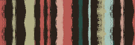 Funky Vertical Stripes Seamless Background. Dirty Vector Watercolor Paint Lines. Hand Drawn Lines Banner. Autumn Winter Trendy Fashion Fabric. Torn Graffiti Trace. Spring Summer Distress Stripes.