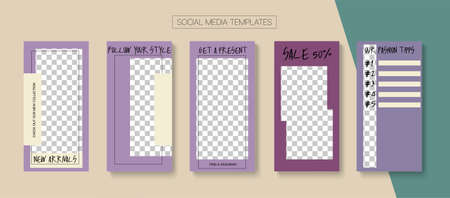 Social Stories Cool Vector Layout. Tech Sale, New Arrivals Story Layout. Blogger Minimal Design, Social Media Kit Template. Online Shop Rich VIP Invitation Mobile. Social Media Stories VIP Layout