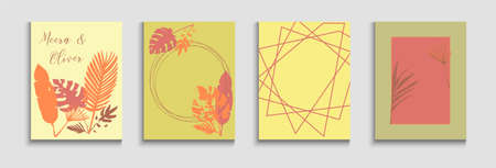 Abstract Vintage Vector Cards Set. Geometric Border Pattern. Japanese Style Invitation. Cool Banana Leaves Magazine Template. Hand Drawn Retro Background. Tie-Dye, Tropical Leaves Banners.