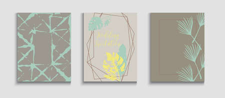 Abstract Vintage Vector Posters Set. Geometric Frame Texture. Japanese Style Invitation. Tie-Dye, Tropical Leaves Cards. Hand Drawn Elegant Background. Minimal Monstera Leaves Magazine Template.