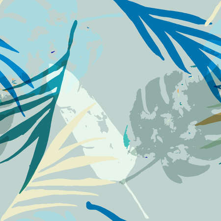 Palm, Banana Leaves Vector Seamless Pattern, Blue, White, Yellow Exotic Floral Print. Botanical Jungle Leaves Summer Fabric. Female Elegant Background. Tropical Fabric Seamless Print