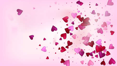 Falling Hearts Vector Confetti. Valentines Day Wedding Pattern. Beautiful Pink Frame Valentines Day Decoration with Falling Down Hearts Confetti. Elegant Gift, Birthday Card, Poster Background Illustration