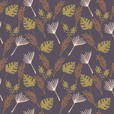 Funky Tropical Vector Seamless Pattern. Chic Summer Fashion. Dandelion Monstera Feather Banana Leaves Tropical Seamless Pattern. Painted Floral Background. Elegant Male Shirt Female Dress Texture.
