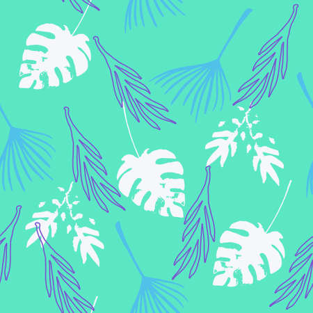 Modern Tropical Vector Seamless Pattern. Painted Floral Background. Elegant Male Shirt Female Dress Texture. Dandelion Feather Banana Leaves Monstera Tropical Seamless Pattern. Cool Summer Textile.