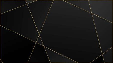 Black Luxury Polygon Texture. Silver VIP Rich Geometric Celebration Wallpaper. Gold Lines Triangular Premium Border. Crystal Triangle Black Premium Background. Elegant Dark Platinum Chic Shapes Banner