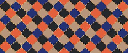 Traditional Ramadan Golden Mosque Tile. Moroccan Seamless Mosaic Design. Eid Mubarak Muslim Decoration. Iranian Mosque Window Shape. Seamless Moroccan Ornament Ramadan Kareem Islam Background.