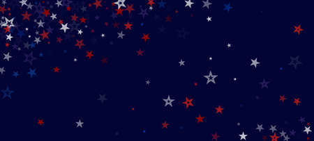 National American Stars Vector Background. USA 4th of July Labor 11th of November Memorial Veteran's Independence President's Day Texture. US Election Design. American Blue, Red, White Falling Stars.