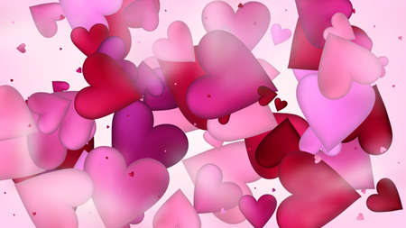Flying Hearts Vector Confetti. Valentines Day Wedding Pattern. Beautiful Pink Design Valentines Day Decoration with Falling Down Hearts Confetti. Elegant Gift, Birthday Card, Poster Background