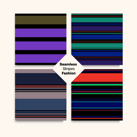 Sailor Stripes Seamless Pattern Set. Winter Autumn Elegant Fashion Textile. Swimming Suit Lines Hipster Fashion Background Female Childrens Male Seamless Stripes Design. Modern Lines Endless Texture.