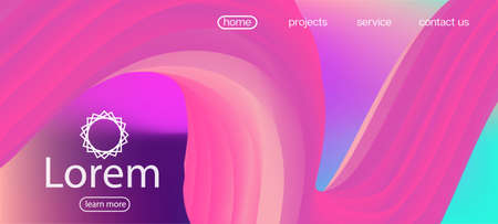 Neon Color Website Layout. Landing Page, Pink, Purple Background. 3d Fluid Vibrant Vector Background. Dynamic Motion Funky Wave. Colorful Lucid Gradient Wallpaper. Modern Liquid Wave Banner.