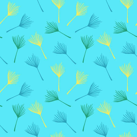 Modern Tropical Vector Seamless Pattern. Monstera Banana Leaves Dandelion Feather Tropical Seamless Pattern. Cool Summer Textile. Elegant Male Shirt Female Dress Texture. Painted Floral Background.