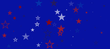 National American Stars Vector Background. USA 4th of July Labor Independence Veteran's President's 11th of November Memorial Day Border. US Election Banner. American Blue, Red, White Falling Stars.