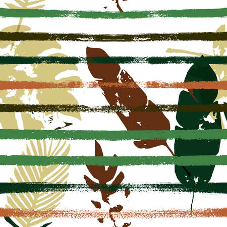 Sailor Stripes Vector Seamless Pattern, Brown Green Khaki Exotic Floral Print. Brushed Jungle Leaves Autumn Fabric. Childrens Uneven Background. Exotic Floral Seamless Textile