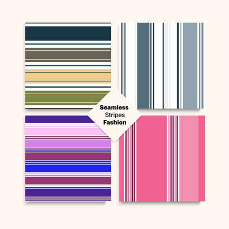 Sailor Stripes Seamless Texture Set. Training Suit Lines Female Childrens Male Seamless Stripes Design. Spring Autumn Funky Fashion Print. Elegant Lines Endless Pattern. Vintage Fashion Background