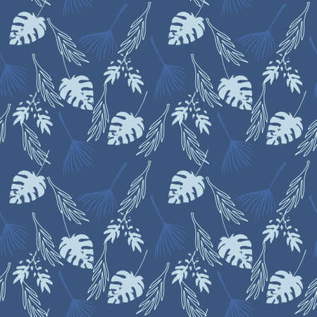 Funky Tropical Vector Seamless Pattern. Drawn Floral Background. Feather Banana Leaves Monstera Dandelion Tropical Seamless Pattern. Beautiful Male Shirt Female Dress Texture. Fine Summer Fabrics. Illustration