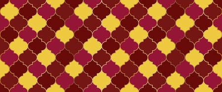 Seamless Moroccan Mosaic Design. Seamless Moroccan Texture Ramadan Kareem Islamic Decoration. Traditional Ramadan Golden Mosque Motif. Turkish Mosque Window Tile. Eid Mubarak Muslim Illustration.