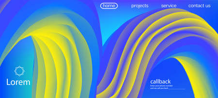 Trendy Liquid Wave Banner. Landing Page, Yellow, Blue Background. Dynamic Motion Funky Wave. Neon Color Website Design. 3d Fluid Lucid Vector Background. Futuristic Bright Gradient Wallpaper. Illustration
