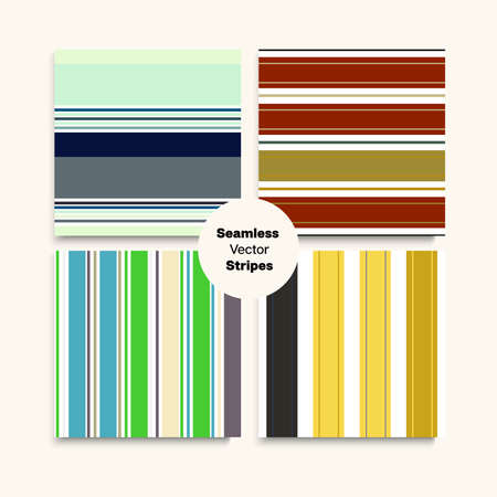 Sailor Stripes Seamless Pattern Set. Childrens Male Female Seamless Stripes Design. Elegant Fashion Background Swimming Suit Lines Modern Lines Endless Texture. Autumn Summer Funky Fashion Fabric. Illustration