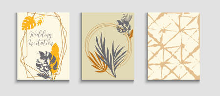 Abstract Vintage Vector Banners Set. Noble Olive Leaves Invitation Template. Geometric Border Pattern. Oriental Style Invitation. Tie-Dye, Tropical Leaves Covers. Hand Drawn Hipster Background.