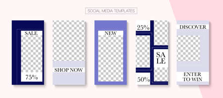Modern Stories Vector Background. Online Shop Luxury Invitation Advert. Modern Sale, New Arrivals Story Layout. Blogger Simple Covers, Social Media Kit Template. Social Media Stories Simple Set Illustration