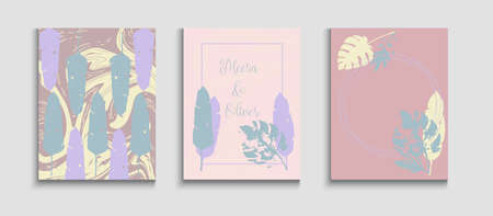 Abstract Trendy Vector Banners Set. Tie-Dye, Tropical Leaves Flyers. Minimal Olive Leaves Magazine Design. Hand Drawn Hipster Background. Geometric Frame Pattern. Japanese Style Invitation.