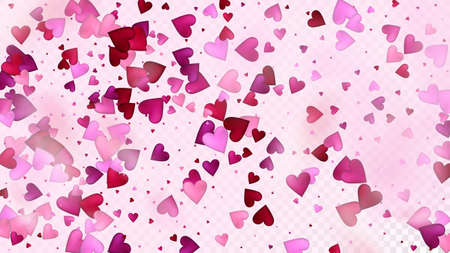 Flying Hearts Vector Confetti. Valentines Day Wedding Pattern. Beautiful Pink Glitter Valentines Day Decoration with Falling Down Hearts Confetti. Rich VIP Gift, Birthday Card, Poster Background