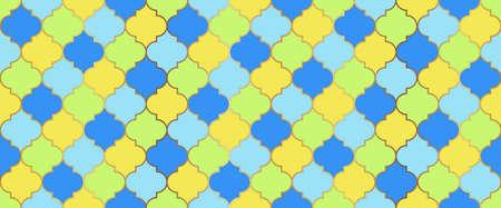Moroccan Seamless Mosaic Ornament. Ottoman Mosque Window Grid. Eid Mubarak Islamic Illustration. Ramadan Kareem Islam Background. Traditional Ramadan Golden Mosque Motif. Moroccan Seamless Design Illustration