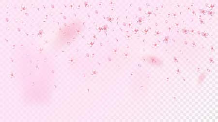 Nice Sakura Blossom Isolated Vector. Feminine Showering 3d Petals Wedding Paper. Japanese Gradient Flowers Wallpaper. Valentine, Mother's Day Summer Nice Sakura Blossom Isolated on Rose