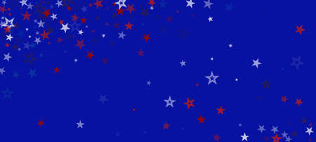 National American Stars Vector Background. USA Labor Independence President's Memorial 4th of July Veteran's 11th of November Day Texture. US Election Border. American Blue, Red, White Falling Stars.