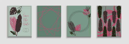 Abstract Trendy Vector Banners Set. Noble Olive Leaves Invitation Design. Oriental Style Invitation. Hand Drawn Asian Background. Geometric Frame Pattern. Tie-Dye, Tropical Leaves Cards.